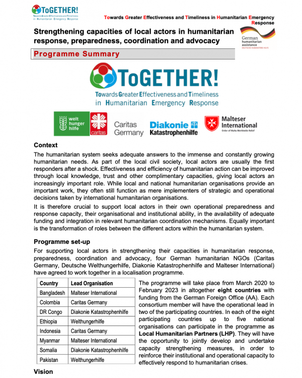 ToGETHER! - Strengthening capacities of local actors in humanitarian response, preparedness, coordination and advocacy